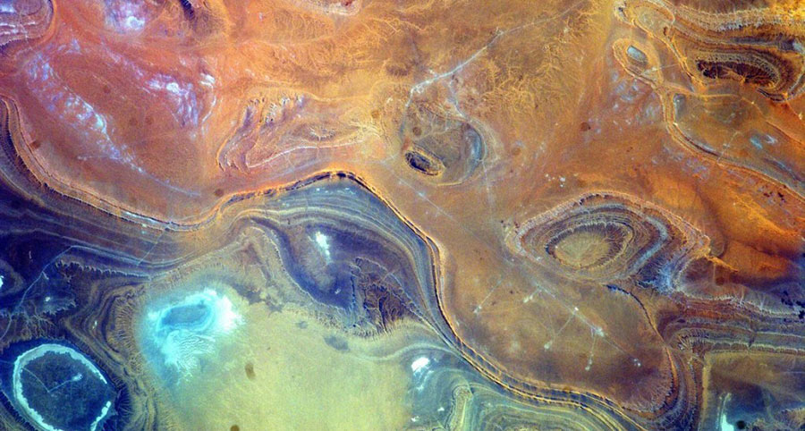 Photo of landforms in Algeria taken from International Space Station