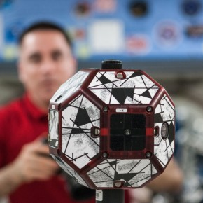 Astronaut Chris Cassidy and SPHERES robot ISS