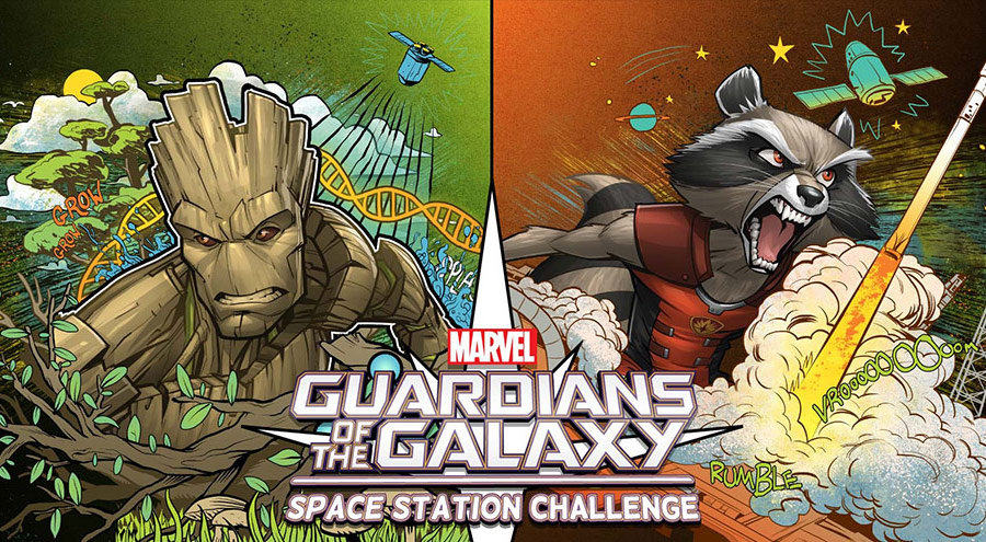 The Guardians of the Galaxy Space Station Challenge features Marvel characters Groot and Rocket
