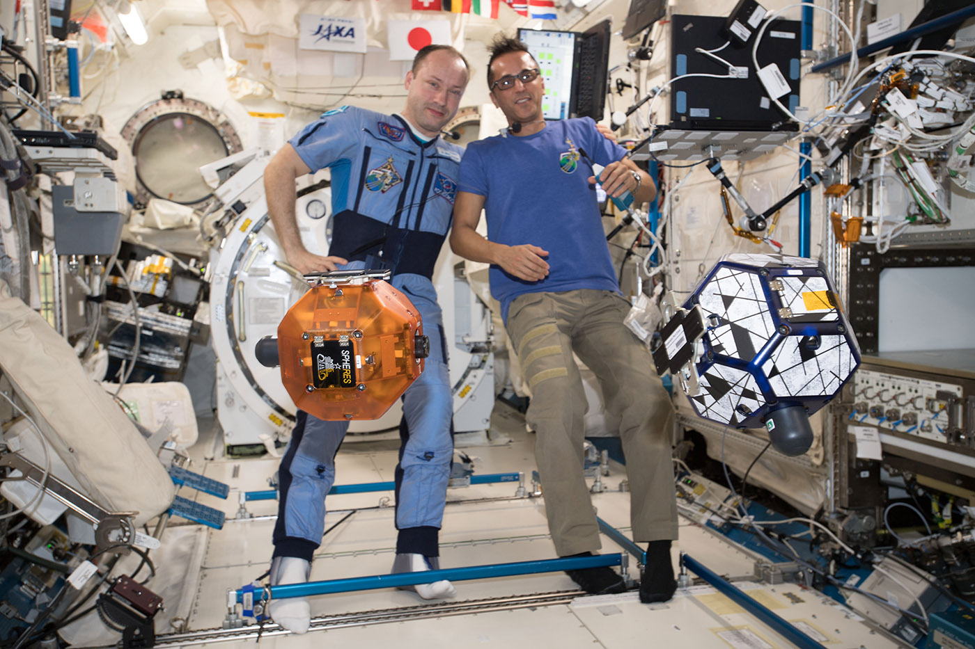 ISS astronauts Sasha Misurkin and Joe Acaba were referees for the 2017 Zero Robotics High School Tournament