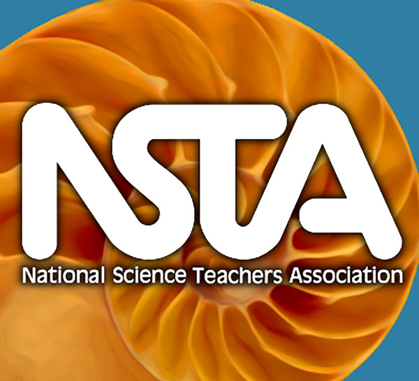 NSTA logo orange nautilus square