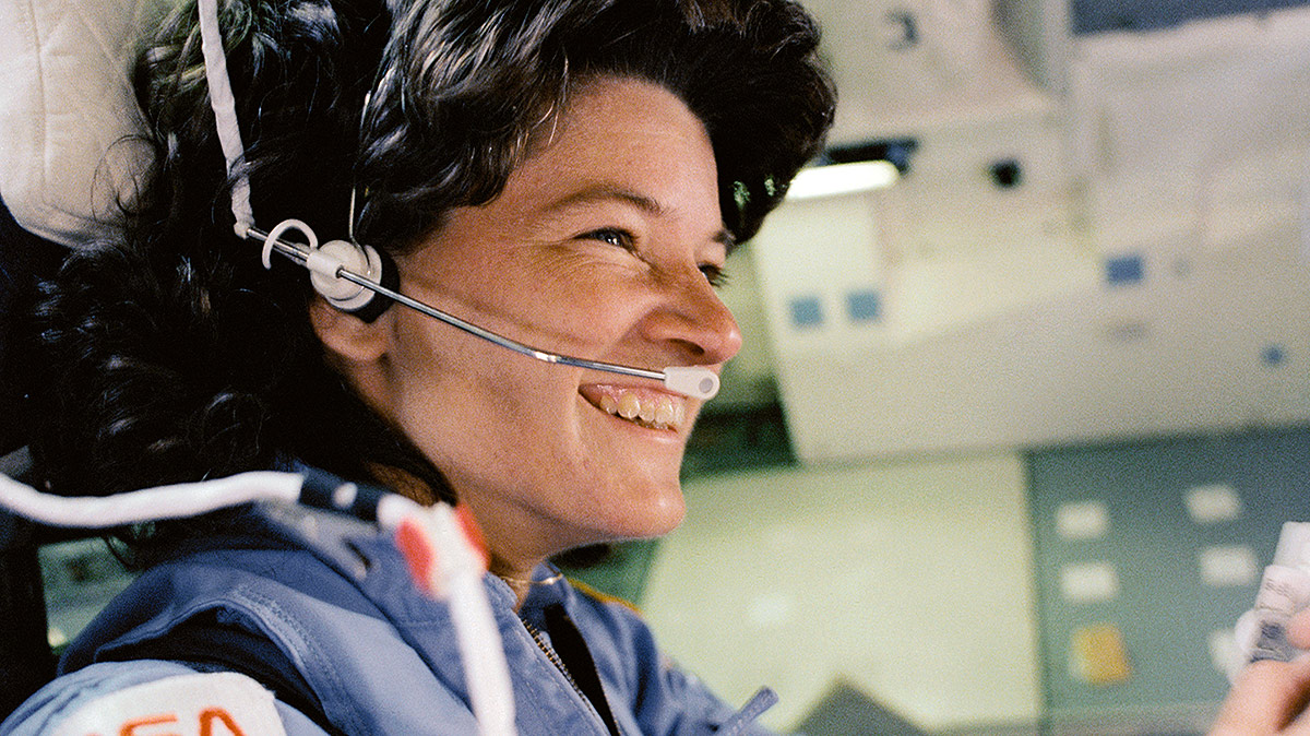 sally ride closeup mic