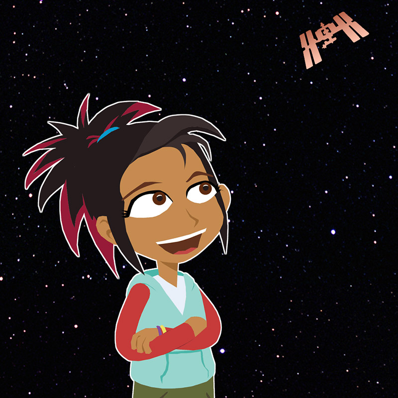 scigirls izzie looking up at iss