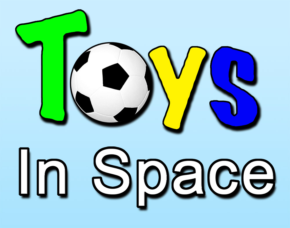 toys in space on pale blue