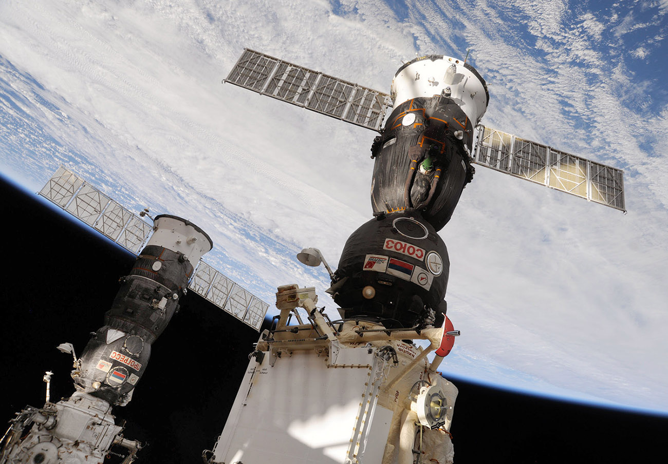 progress and soyuz docked ISS 2010